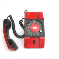 Red rotary telephone Soviet vintage electronics home decor rare Poland phone collectibles design