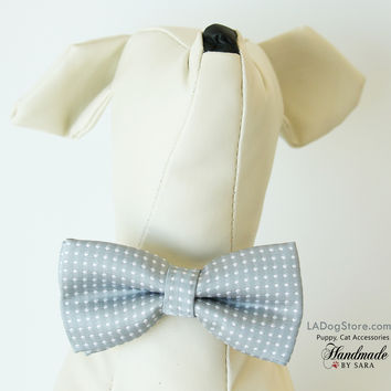 Polka dots Gray dog bow tie attached to collar, Puppy, Cat birthday gift, Small Collar