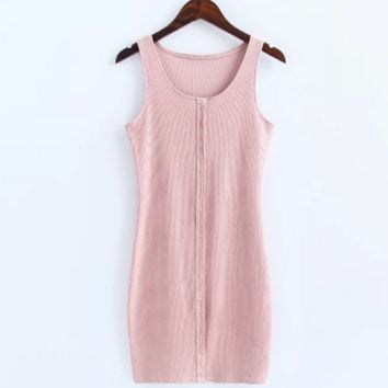 Sexy show body knit cotton front button vest type sexy dress Pink