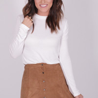 Snap Out Of It Suede Skirt