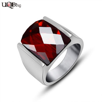 Fashion Women Men Luxury Natural Garnet Rings 316L Stainless Steel Smooth Jewelry Rings For Birthday Gifts 2016