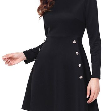 Button Side Detail Black Long Sleeve Military Skater Dress
