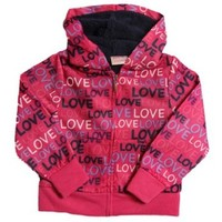 Pink Platinum Little Girls' Pink and Black Love Sherpa Hoodie Winter Jacket
