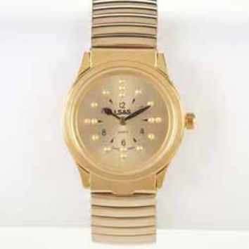LSS 101065 Braille Watch - Gold Face - Gold Expansion Band