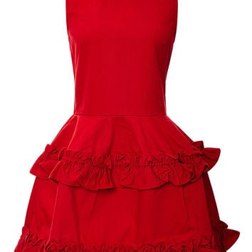 Tiered Ruffled-Hem Dress in Red