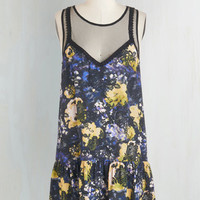 Boho Mid-length Sleeveless Drop Waist Watercolor Whimsy Dress
