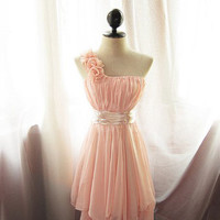 Adorable Pearl Pink A-line One-shoulder Mini Prom Dress