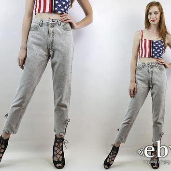 Vintage 80s High Waisted Acid Wash Jeans S 26 Mom Jeans Bonjour Jeans Skinny Jeans Hipster Jeans Ankle Zipper Jeans Grey Jeans