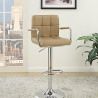 Arm Chair Style Bar Stool With Gas Lift Brown And Silver Set of 2 By Poundex