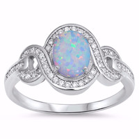 Sterling Silver CZ Lab White Opal Simulated Diamond Halo Ring