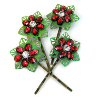 Red Flower Valentine Hair Pins