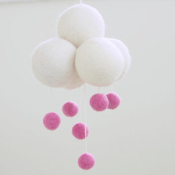 Pink Cloud Mobile, Needle Felted Wool Felt, Rain Cloud, Raindrop, Bubblegum, White, Baby Nursery, Child's Room, Girl, Baby Shower Gift