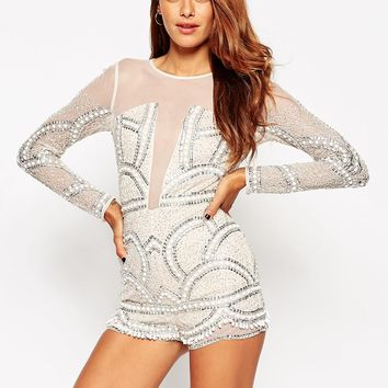 ASOS Pretty Embellished Playsuit with Scalloped Edge