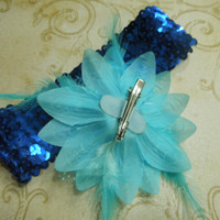 Blue sequin headband with blue feather flower for children, baby, hair accessories by MarlenesAttic