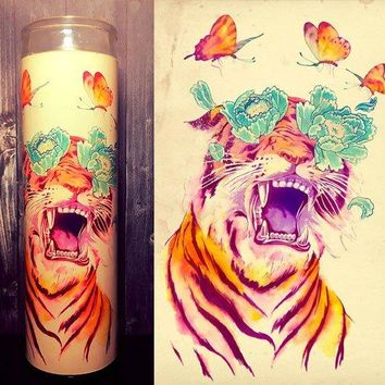 Tiger Art, Tiger, Tiger print, Flower Art, Scented Candle, Candle, Soy Candle, Gift for her, Candle gift, Gift idea, Home decor,
