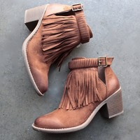 final sale - fringe cut-out chunky heel booties - rust