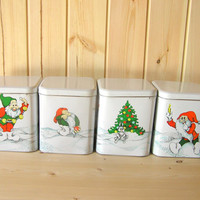 Soviet vintage tin food container set large cookie box Christmas dwarf holiday home decor kitchen decor new old stock unused