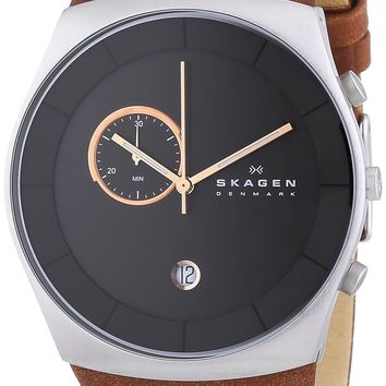 SKAGEN Havene Leather Chronograph Watch SKW6085