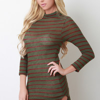 Stripe Knit Mock Neck Mini Dress