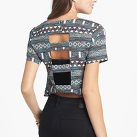 Lush Print Back Cutout Crop Top (Juniors) | Nordstrom