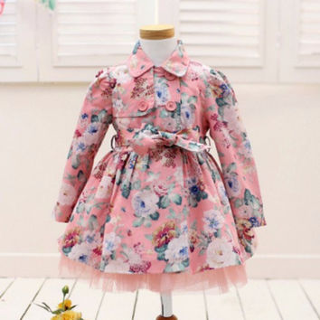 "Pre-order: The ""Abigail"" Floral Princess Girls Trench Coat in Pink"