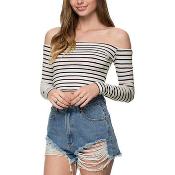 Black&White Striped Off Shoulder Crop Tank Shirt
