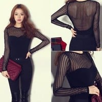 Sexy Women Striped Mesh Sheer Cotton T-Shirt Long Sleeve Black Solid Tops Blouse