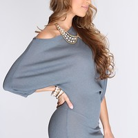 Dark Grey Ribbed Texture Stylish Sweater Dress
