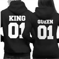 S/M/L/XL Couple Matching Hoodies King 01 And Queen 01 Back Print Hooded Sweatshirts Hot!
