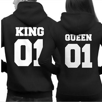 S/M/L/XL Couple Matching Hoodies King 01 And Queen 01 Back Print Hooded Sweatshirts Hot! Sold Separately
