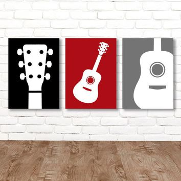Boy GUITAR Wall Art, Music Theme Guitar Nursery Decor, Boy Red Black Gray Music Bedroom Pictures Rock N Roll Set of 3 Guitar Canvas or Print