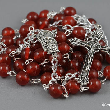 Wire Wrapped Rosary Carnelian Red Traditional Catholic