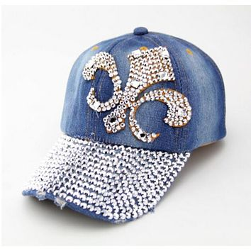 2014 new Retail Diamond Point anchor denim caps women baseball cap adjustable Rhinestones unisex hats Free shipping