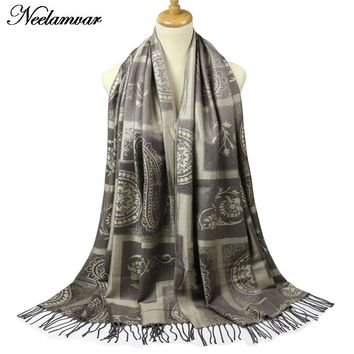 Neelamvar Jacquard scarves Wraps for Women Cashew plaid Long Shawls Cotton Fringes Pashmina 2017 Brand Winter Scarf