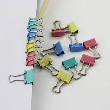 15mm Random 4 Color Metal Binder Clips for Note Letter Paper Books Office School File Paper Organizer 1pcs