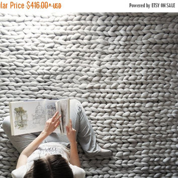 Summer Sale -25% Large blanket .Grande punto. Chunky knit blanket. Cozy blanket. Big yarn blanket. Merino wool.