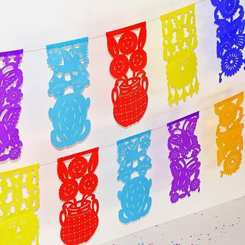Mexican Party Decorations, Fiesta Party Banners, Papel Picado Paper Banners
