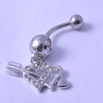 New Charming Dangle Crystal Navel Belly Ring Bling Barbell Button Ring Piercing Body Jewelry = 4804928388