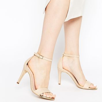 ALDO Ridia Beige Metal Barely There Heeled Sandals