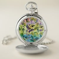 Utopian Psychedelic Surreal Eyes Design Pocket Watch
