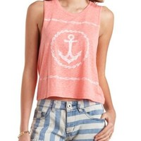 Neon Coral Anchor Graphic Muscle Tee by Charlotte Russe
