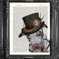 Dog Print-Steampunk Puppy-Dictionary Print-Cute Puppy Poster-Dog Lover Poster-Dog Lover Gift