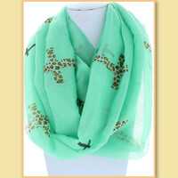 Leopard Cross Infinity Scarf Mint