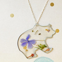 Large Floral Bear Necklace - Dried Flower Nature Pendant
