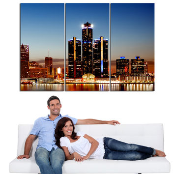 Large Wall Art Canvas Print Detroit Night Skyline 3 Piece Wall Canvas Art Print - Framed - Giclee Print