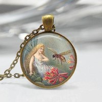 Fairy Honey Bee Glass Cabochon Necklace