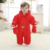 Baby Full Cover Winter Plush One Piece Thermal Jacket Romper