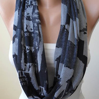 Grey Scarf  - Infinty - Circle -  Loop Scarf