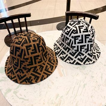 """FENDI"" Unisex Fashion Retro Multicolor Letter Fisherman Cap Bucket Hat Couple Sun Hat"
