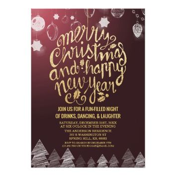 Purple Gold Script Cheers New Year Christmas Party Card